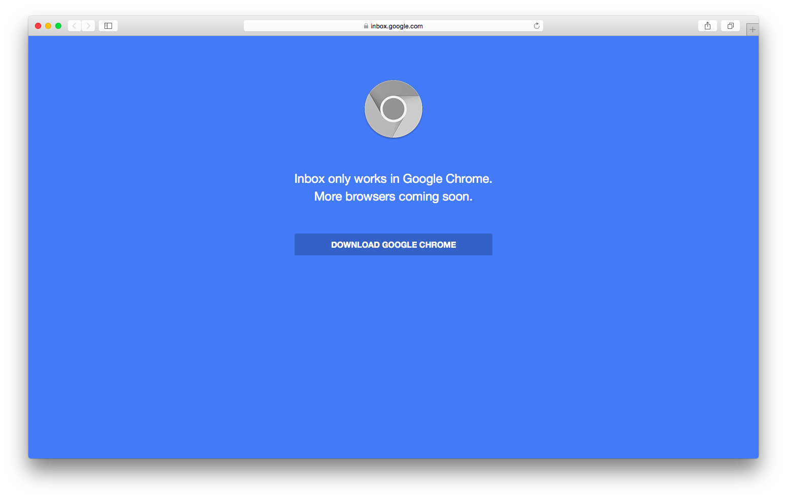 screenshot of Inbox in Safari